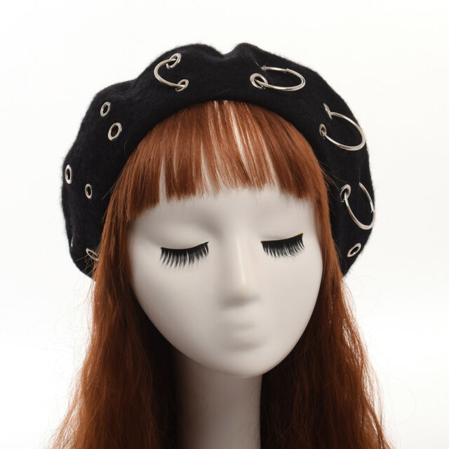 ecddf7ff6dd71 Vintage Harajuku Girls Beanie Punk Iron Ring Beret Lolita Girls Painter Hat  for sale online