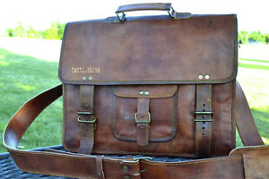 New Men/'s Genuine Vintage Brown Leather Messenger Shoulder Laptop Bag computer