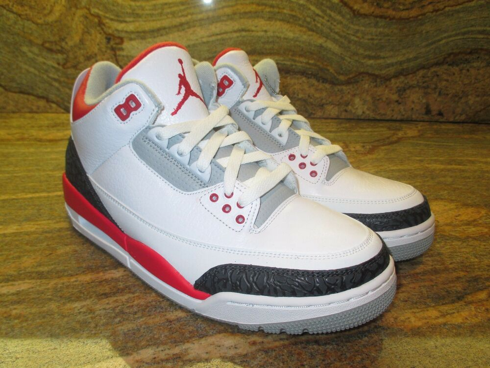 2013 Nike Air Jordan 3 III Retro 88 Og Sz 9 Rouge Flamme Blanc Ciment 136064-120