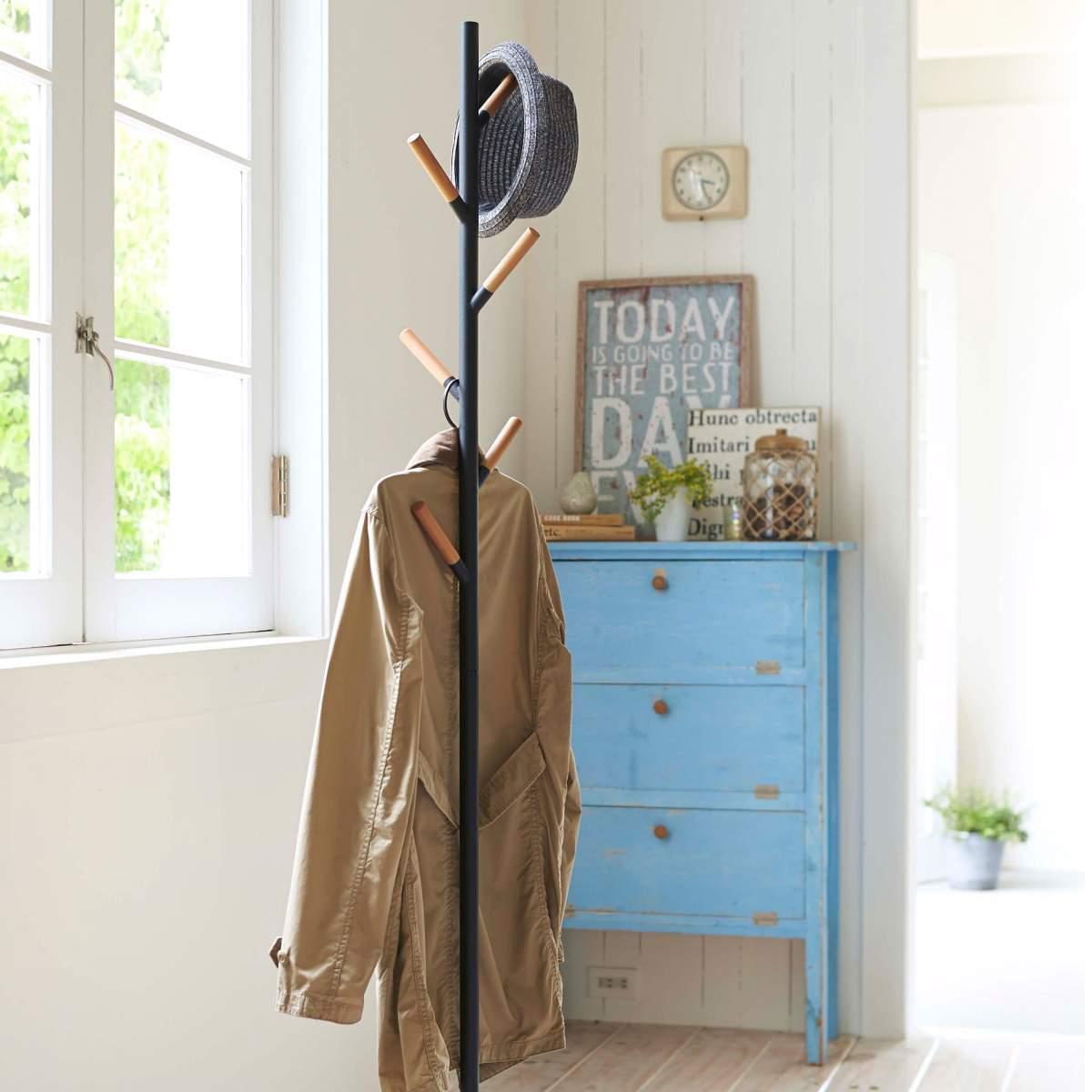 Yamazaki Garderobenständer Kleiderständer Kleiderständer Kleiderständer Garderobe Metall + Holzakzente schwarz 7a1d67