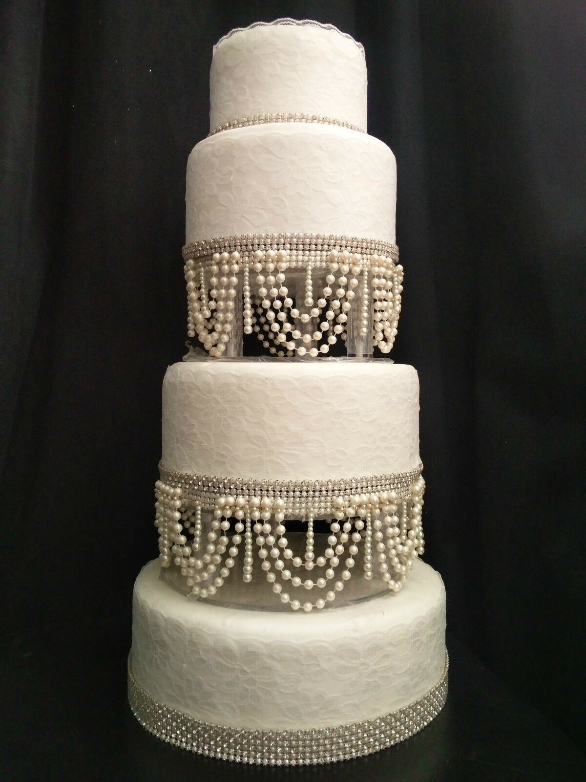 Pearl swag design gateau de mariage support. séparateurs