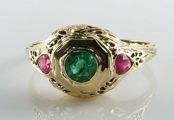 COMBO 9CT 9K gold EMERALD RUBY ART DECO INS FILIGREE RING FREE RESIZE