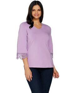 Denim-amp-Co-Womens-V-Neck-3-4-Bell-Sleeve-Top-Large-Lace-Antique-Violet-A305169