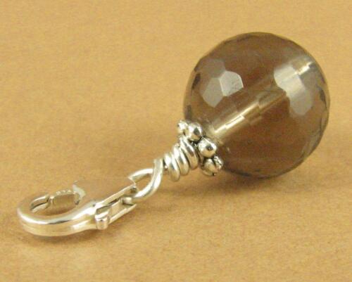 Sterling silver 925 Handmade. Brown Smoky quartz clip-on charm//pendant