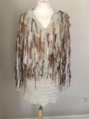 Iconic 70s Vintage Leather Fringe Knit Sweater Dress Tunic Beige Sz 8 10 L
