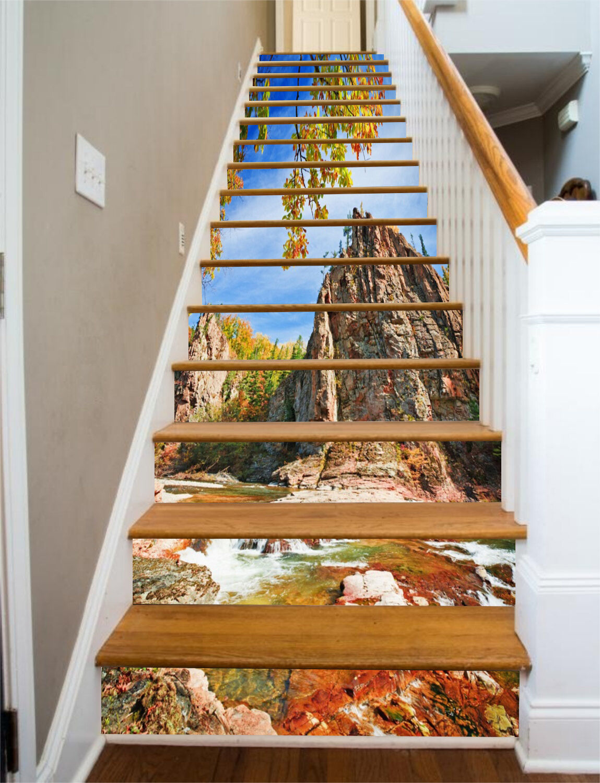 3D Hills River 76 Stair Risers Decoration Photo Mural Vinyl Decal Wallpaper CA
