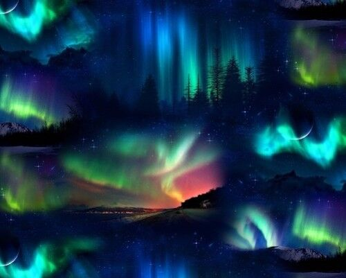 NORTHERN LIGHTS NIGHT SKY LANDSCAPE QUILTING FABRIC NO 8