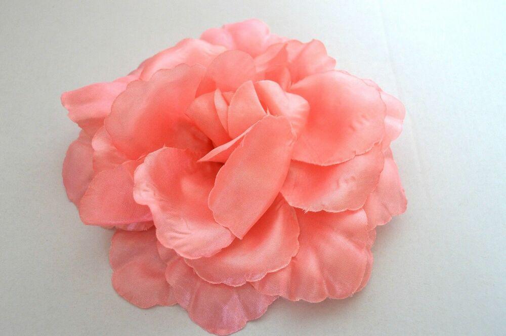 Rose Clair Saumon Large Floppy Satin Clip à Cheveux Broche