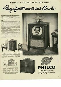 "1950 PHILCO Television 16"" Console TV Vintage Ad"