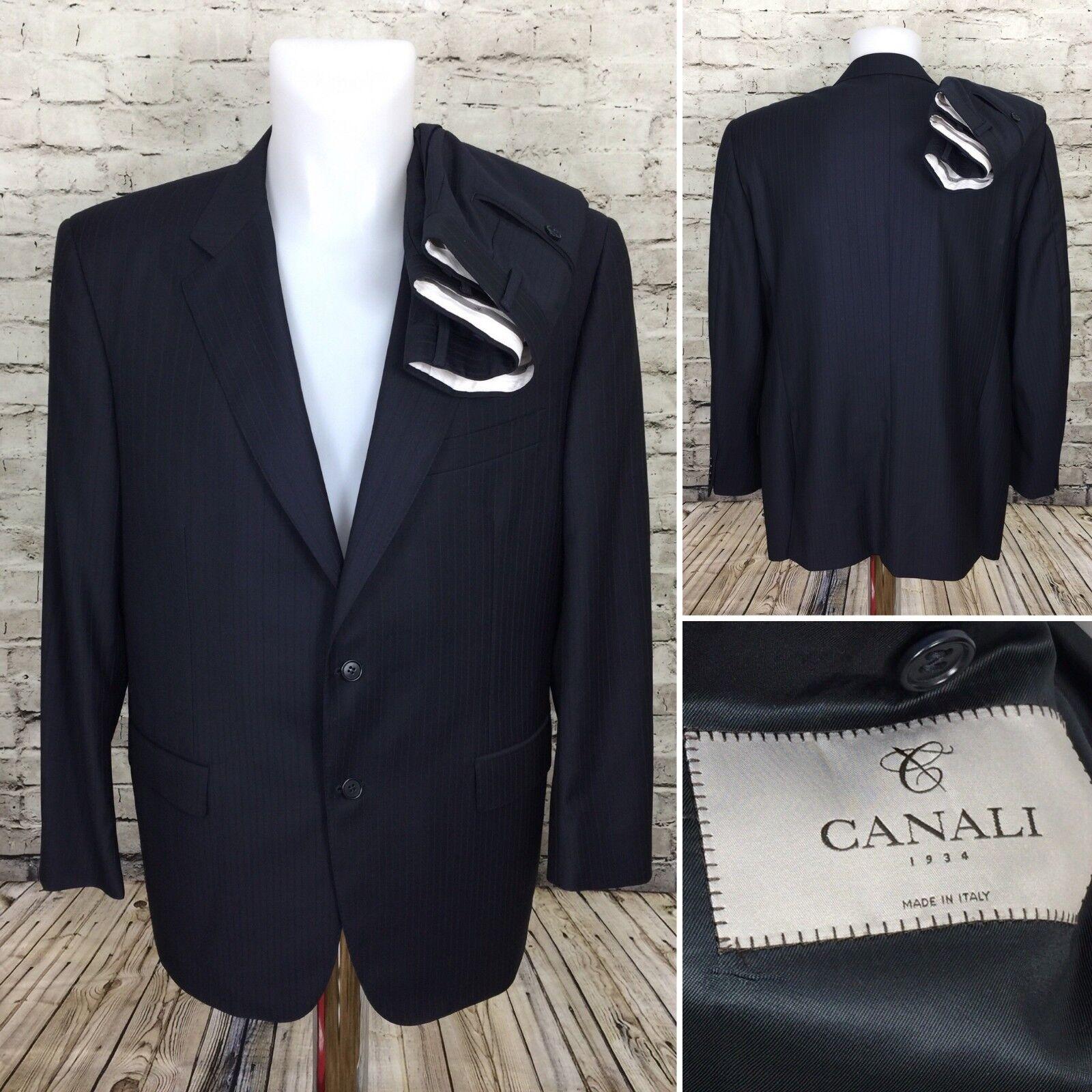 Canali Travel Suit Blau Striped 2 Button Men ITALY Größe 54/44, Pants 37x30