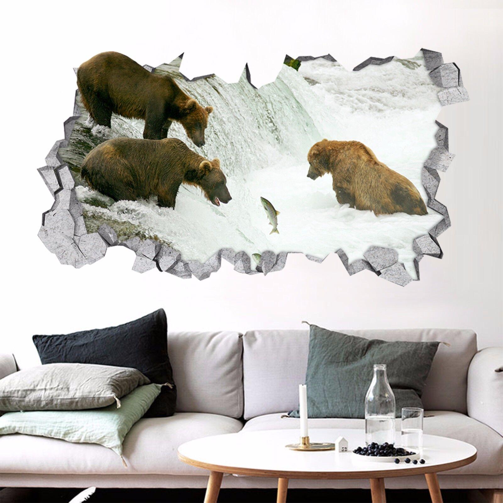 3D Bär Fisch See 73 Mauer Murals Mauer Aufklebe Decal Durchbruch AJ WALLPAPER DE