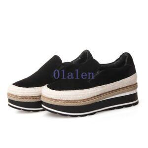 2019-Vogue-Women-039-s-Velvet-Round-Toe-Loafer-Platform-Leisure-Flat-Creeper-Shoes