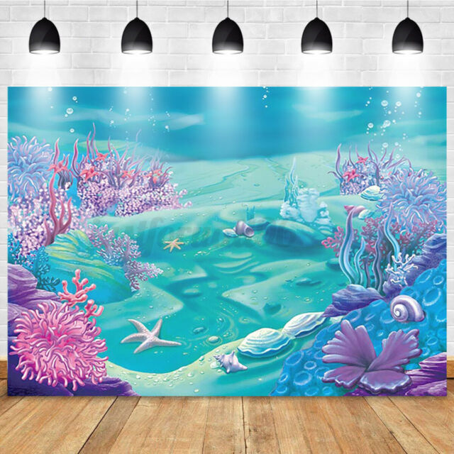Ocean Mermaid Backdrop Birthday Photo Photography Background Baby Shower Party