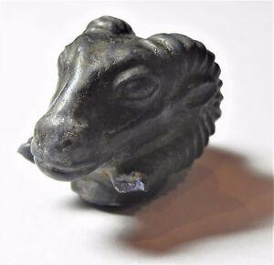 ZURQIEH -AF1770- ANCIENT EGYPT , NEW KINGDOM LAPIS LAZULI KHNUM HEAD. 1400 B.C
