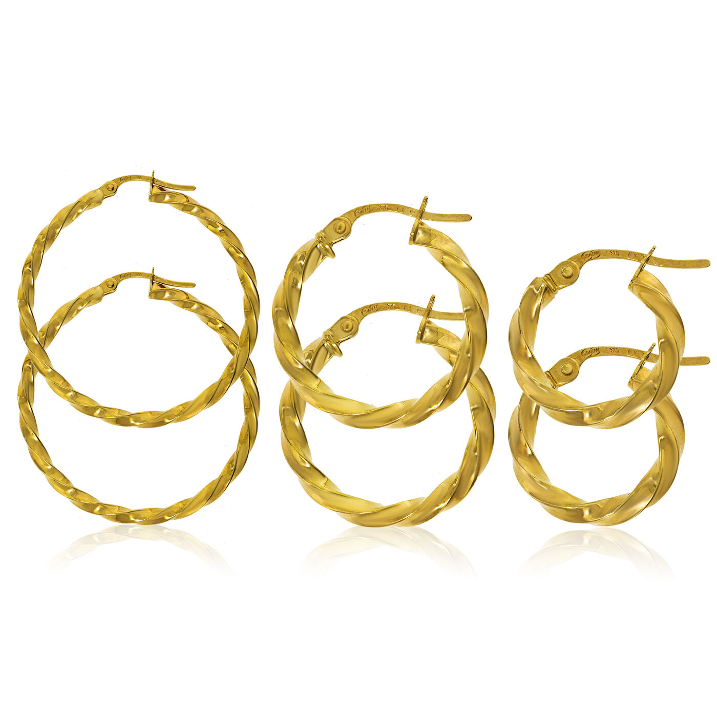 9CT gold HOOP EARRINGS TWISTED SQUARE TUBE POLISHED CREOLE SLEEPER LOOP GIFT BOX