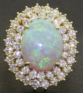 Heavy-jumbo-18K-gold-9-80CTW-VS-diamond-16-2-X-13mm-opal-cocktail-ring-size-7-25