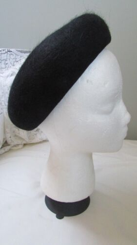 Vintage Black 100% Wool Felt Tam Hat