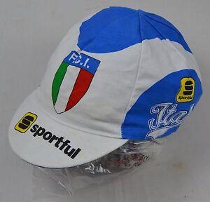 Vintage-Classic-Original-ITALIA-FCI-Cotton-Cycling-Cap-Sportful-Italy-F-C-I