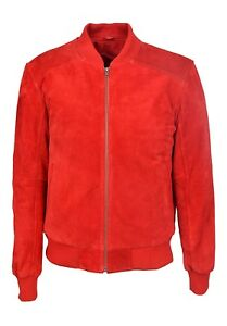 Jacken & Mäntel Freundlich Men's Retro Suede Leather Bomber Red Classic Style 80's Italian Leather New