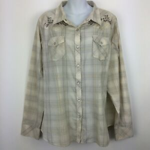 Bit and Bridle 1X Plus Beige Top Shirt Blouse Plaid Pearl Snap Western Womens