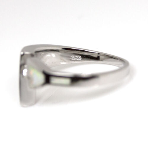 White Fire Opal Solitaire CZ Ring .925 Sterling Silver Half Sizes Available