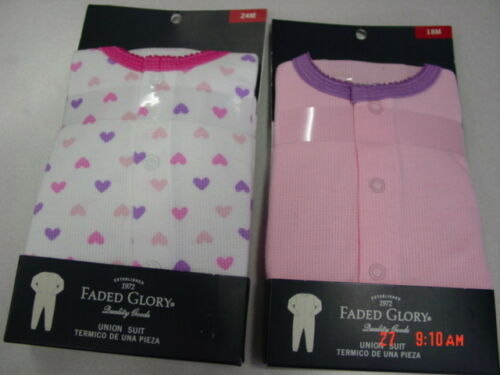 NWT 2 Infant Girls Faded Glory Thermal Union Suit Dainty Sweet Hearts
