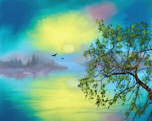 perfect-36x24-oil-painting-handpainted-on-canvas-034-bird-tree-landscape-034-NO1506