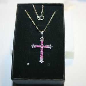 4c94bf06bd5a 12 Natural Rubies Diamond Cross Pendant Necklace 14k white gold over ...