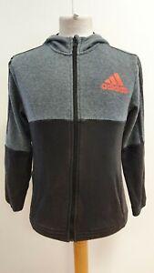 KK318-Garcons-Adidas-Gris-Rayures-Noires-Sports-Full-Zip-Sweat-a-capuche-top-UK-13-14-ans