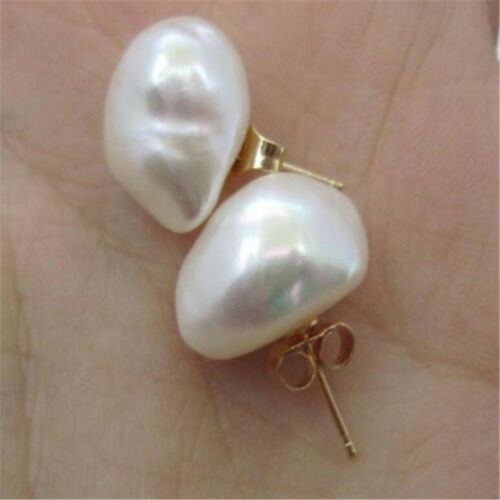 AAA 11x13mm South Sea White Baroque Pearl Earrings 14K YELLOW GOLD elegant