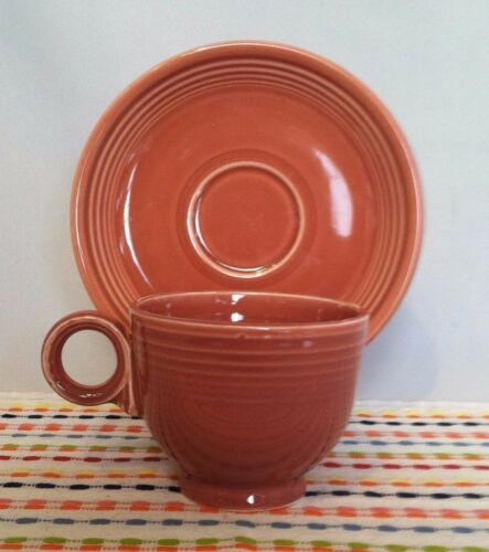Vintage Fiestaware Rose Cup and Saucer Fiesta 1950s Pink Ring Handled cup