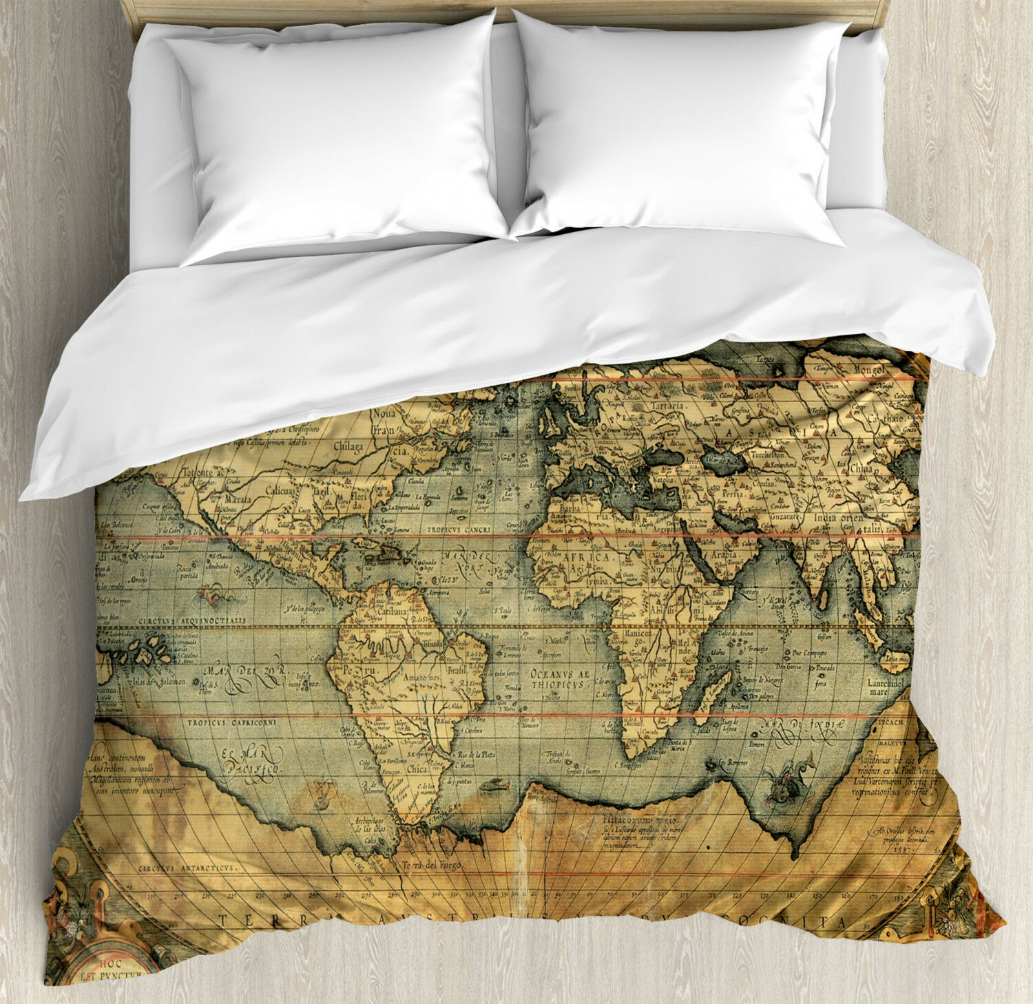 Ancient Duvet Cover Set with Pillow Shams Vintage Atlas Old Chart Print