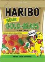 Haribo Sour Gummi Bears - Four Pack - 4.5oz Bags Gold Bear Gummis Free Shipping