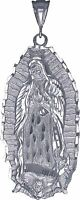 Sterling Silver Virgin Mary Pendant Necklace Large 3.5 Inches Diamond Cut Finish