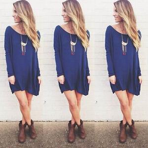 New-Fashion-Women-Long-Sleeve-Loose-Casual-Tops-T-Shirt-Blouse-Mini-Dress-M