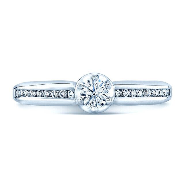 0.40TCW Round Cut Diamond Slim Channel Shank Platinum Solitaire Engagement Ring
