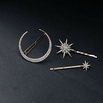 New Popualr Crystal Moon Star Hairpin Hair Clip Jewelry Hair Accessories