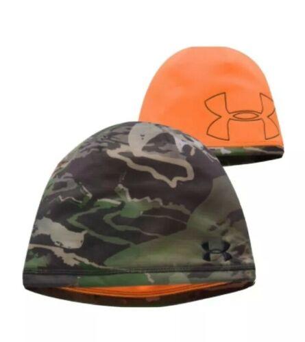 Under Armour Men/'s Reversible Camo Fleece Beanie 2.0 Forest Camo//Orange One Size