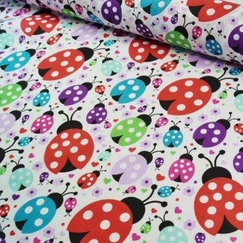 Polycotton Fabric Multi Coloured Ladybugs Ladybirds  Flowers  Hearts