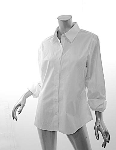 NINA MCLEMORE White 100% Cotton Classic Button Dow