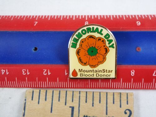 Details about  /MEMORIAL DAY MOUNTAIN STAR BLOOD DONOR PIN
