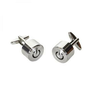 Silver Screw Together Cufflinks Power Off Switch Design Electric Cuff Links New