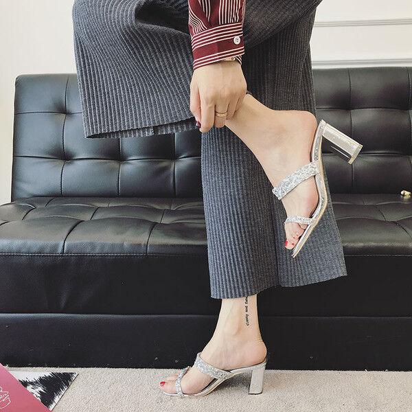 Sandales 7 cm élégant strass argent talon carré sandales comme cuir 1163