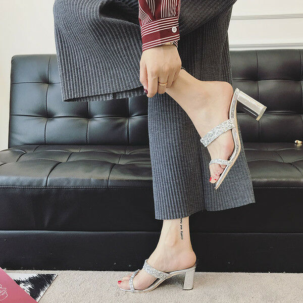 Sandalei 7 cm eleganti strass silver simil tacco quadrato Sandale simil silver pelle 1163 1749ba