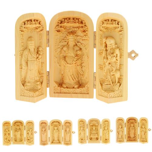 Tibet Buddhismus Buchsbaum schnitzen Kwan-Yin Avalokitesvara Buddha 3 Gott