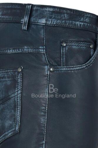 Da Uomo in Pelle Pantaloni Moto Pelle Di Agnello Blu Scuro Vintage Pantaloni in Pelle Jeans 501