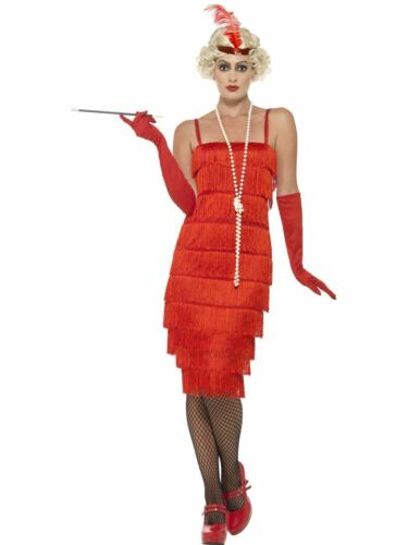 Ladies Red Charleston Costume Flapper Fancy Dress 20s 30s Gatsby Outfit