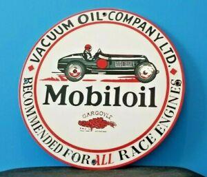 VINTAGE-MOBIL-MOBILOIL-RACE-CAR-11-3-4-METAL-GARGOYLE-PORCELAIN-GAS-PUMP-SIGN