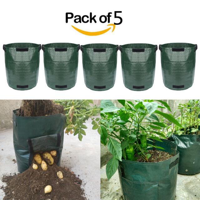 5Pcs Potato Planting Bag PE Cultivation Pot Vegetable Growing Garden Supplies US