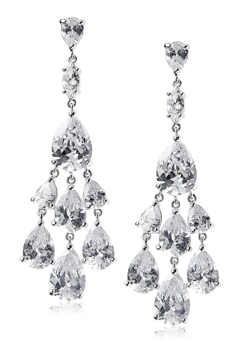 CZ by Kenneth Jay Lane Rhodium Chandelier Pear Fringe Earrings KE1060 NWT